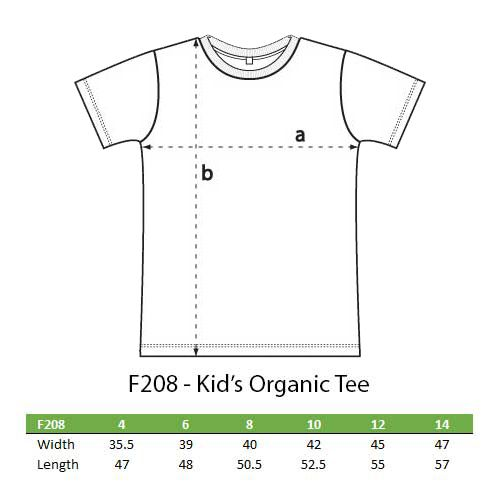 Kids organic fashion T sizes