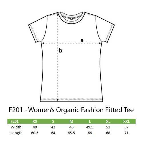 Womens organic fashion T sizes